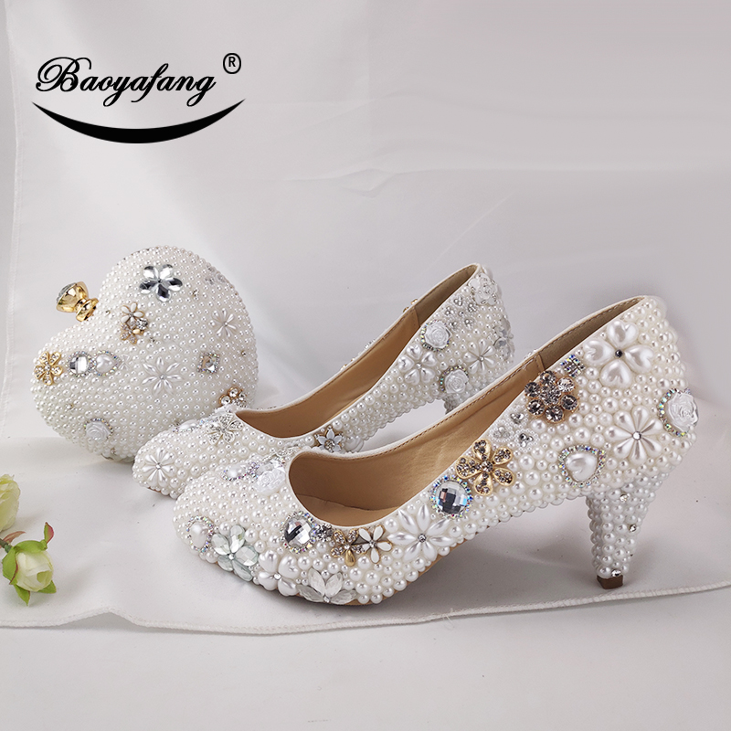 BaoYaFang Women wedding shoes with matching bags High heels platform shoes Peacock Ladies Paty shoe and