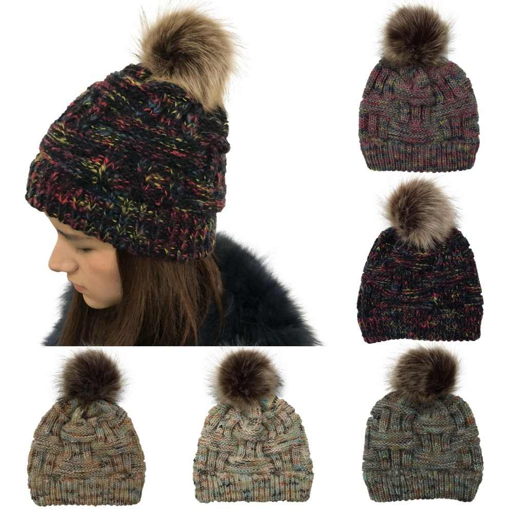 786c74c1e48 Women winter warm hats Bamboo Knitting Rainbow Skullies Beanie Faux Fur Pom  Pom Ball casual ski