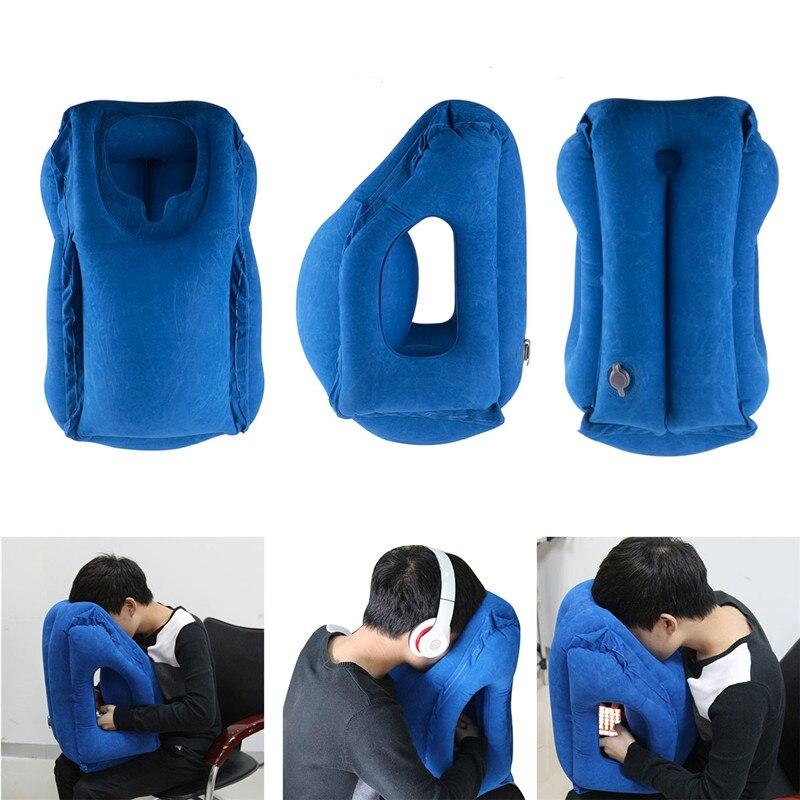 Almohada de viaje inflable almohada de aire suave cojín viaje portátil productos innovadores cuerpo trasero plegable golpe cuello almohada