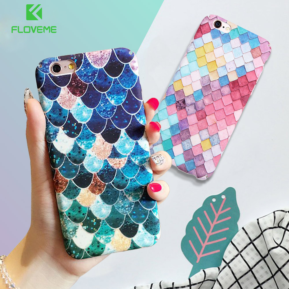 Floveme for iphone 7 6 6s plus case mermaid 3d scales case for 3d decoration for phone cases
