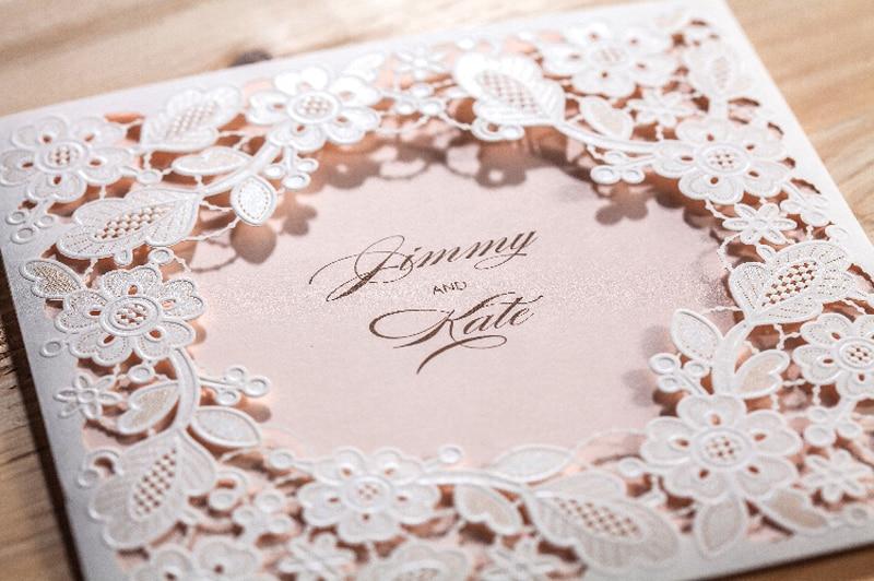 WISHMADE Laserski rez vjenčanja pozivnice kartice Elegantno Cvijeće - Za blagdane i zabave - Foto 4