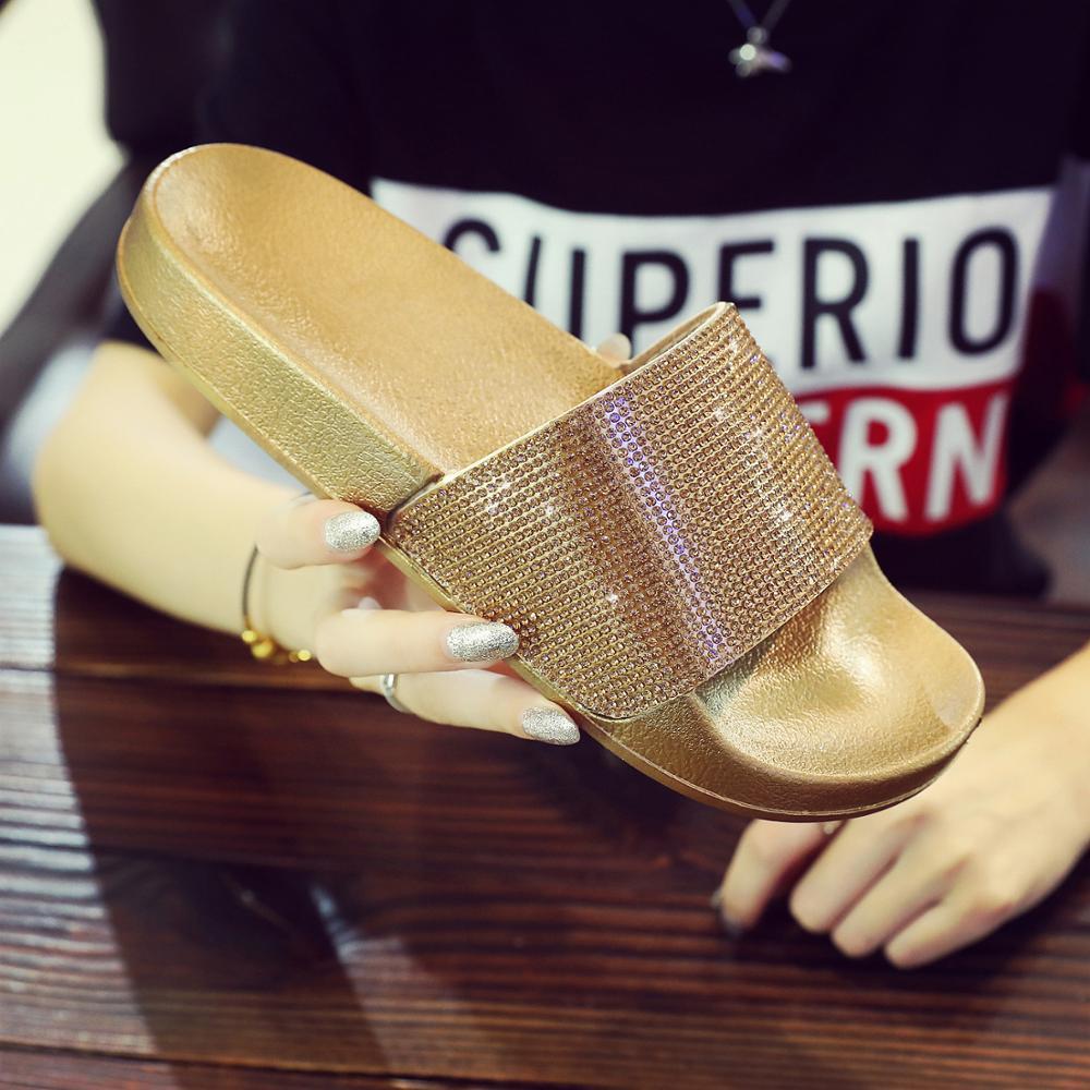 Rhinestone Women Slippers Flip Flops Summer Slides Women Shoes Crystal Diamond Bling Beach Slides Sandals Casual Shoes Slip On