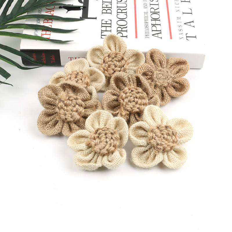 100pcs Handmade Natural Jute Burlap Hessian Flowers for DIY Crafts Vintage Favor Rustic Wedding Party Decor Gift Packing