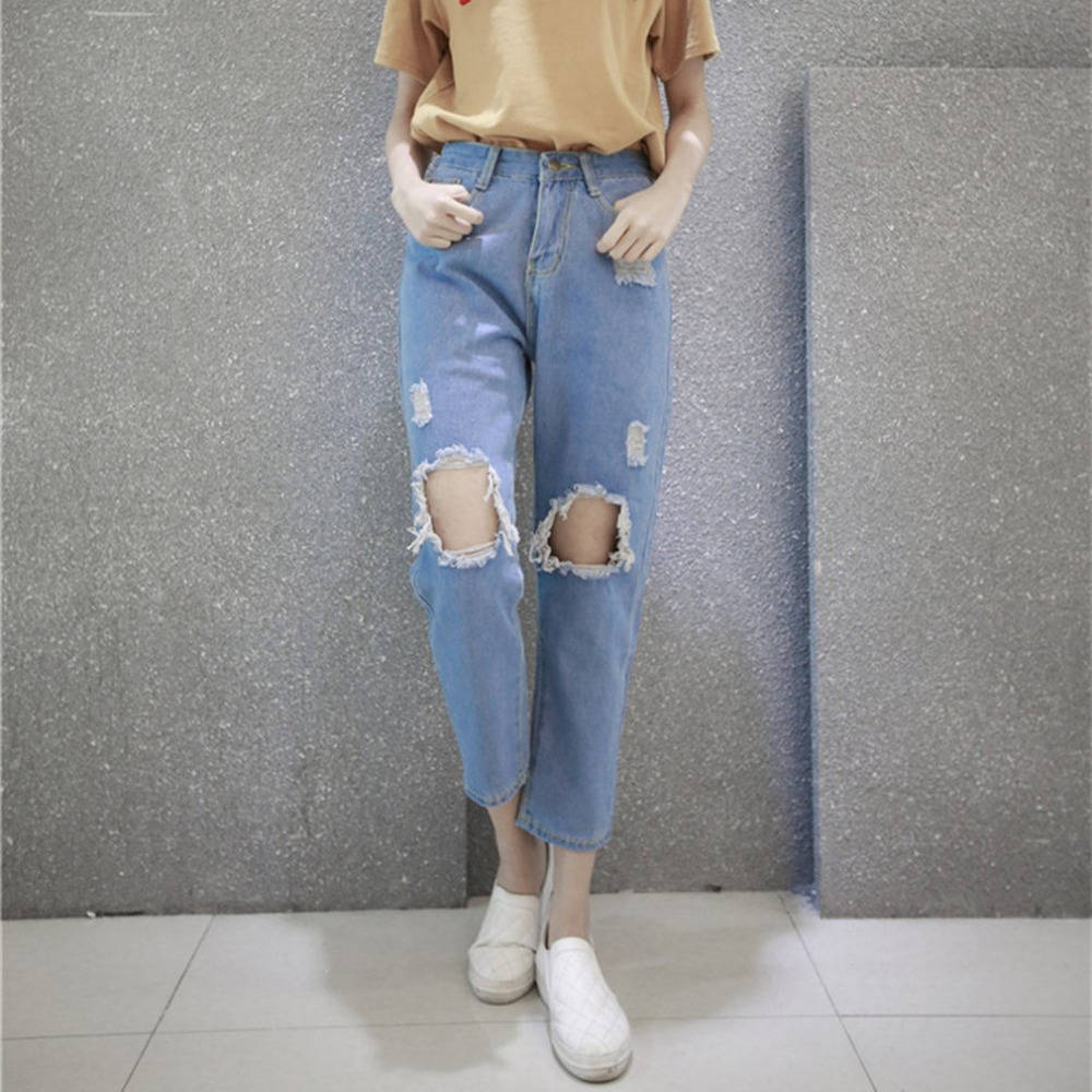 Autumn New Fashion Cotton Jeans Women Loose Mid Waist Washed Vintage Big Hole Ripped Long Denim Pencil Pants spring new fashion cotton jeans women loose high waist washed vintage big hole ripped ankle length denim straight pants mz1535