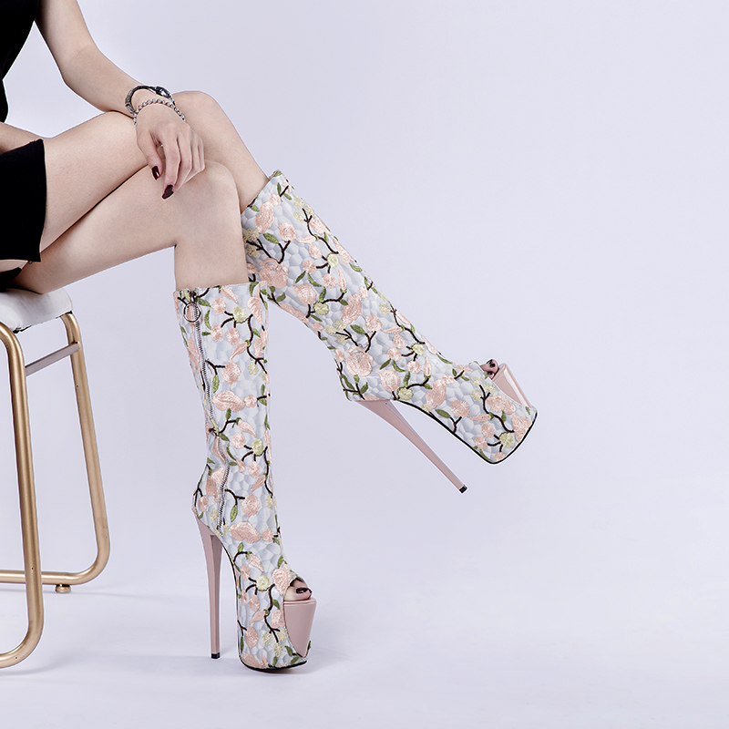 Women 39 s Boots Summer Retro Embroidered Sexy High Heel Knee Boots Platform Sandal Zipper Flower Boot Folk Custom Female Shoes in Mid Calf Boots from Shoes