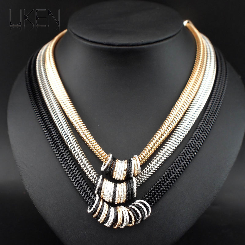 0888f80e92c5 UKEN 2018 nueva llegada de la manera doble enlace cadena círculo aleación  gargantillas collares y colgantes joyería accesorios N3105