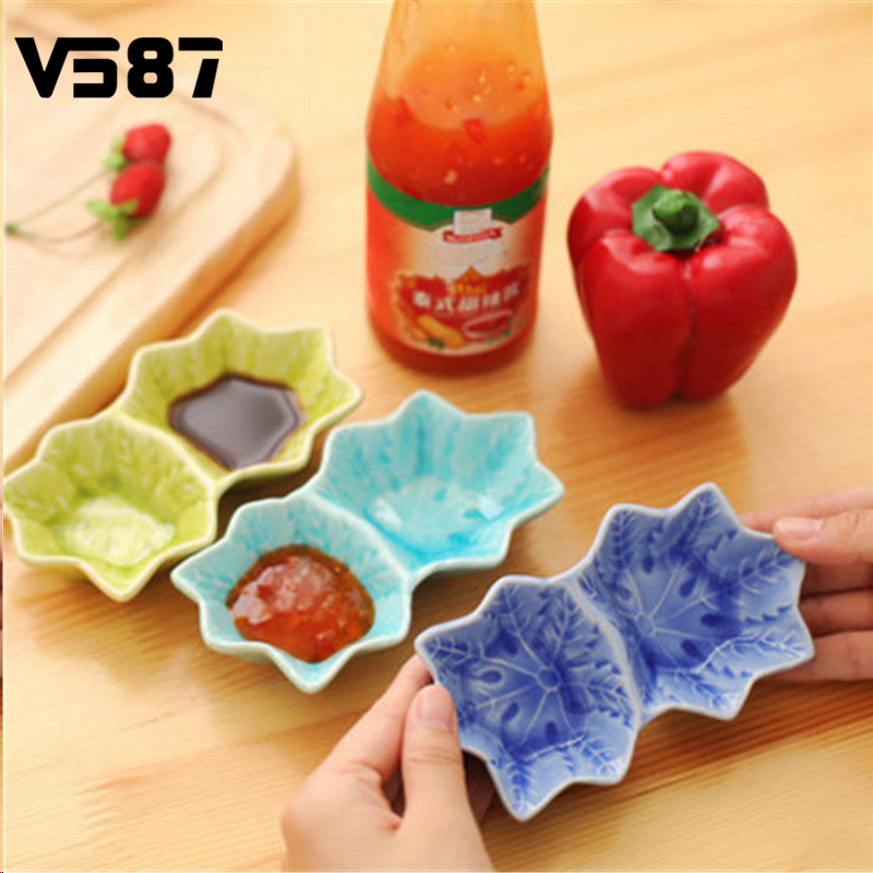 Sauce Dish Crackle Glazed Double Maple Leaf Flavor Dish Shaped Small Ceramic Dish Seasoning Sauce Vinegar Tableware