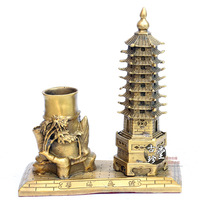 Pure copper Wenchang tower pen holder ornaments steadily rising nine bronze decoration gift gifts crafts