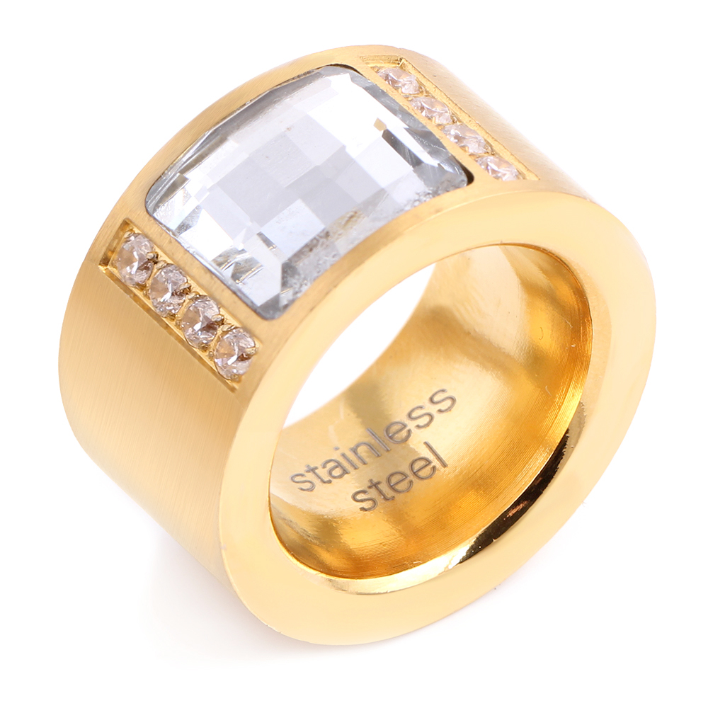 Gold Color Zircon Crystal Titanium Stainless Steel Rings for Women Wedding Jewelry