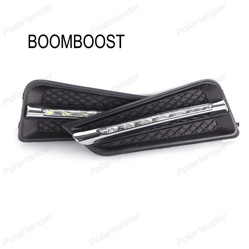 BOOMBOOST  2 pcs car accessory Car styling daytime running lights for H/onda c/ity O/utsea Or G/RACE 2014-2015 boomboost 2pcs car accessory led for h onda f it or ja zz 2014 2015 car stylng daytime running lights