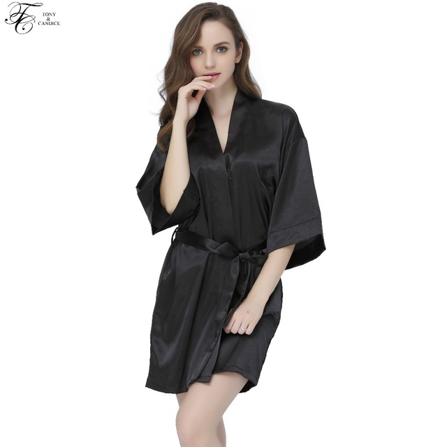 32f8ee97d2 Tony Candice Women s Satin Silk Bathrobes Sexy Short Kimono Dressing Gown  Ladies Sleepwear Female Nightwear Half Sleeve