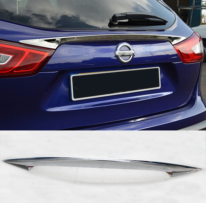 ACCESSORIES FIT FOR 2014 2015 2016 NISSAN QASHQAI J11 CHROME REAR TRUNK HATCH LIFTGATE DOOR SOPILER COVER MOLDING BAR STRIP car rear trunk security shield shade cargo cover for nissan qashqai 2008 2009 2010 2011 2012 2013 black beige