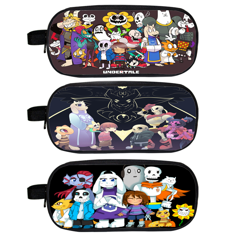 Undertale Kids Cosmetic Cases Pencil Holder Character Sans Papyrus Children  Case Boys Girls Makeup Cases Best Gift Bag-in Cosmetic Bags & Cases from