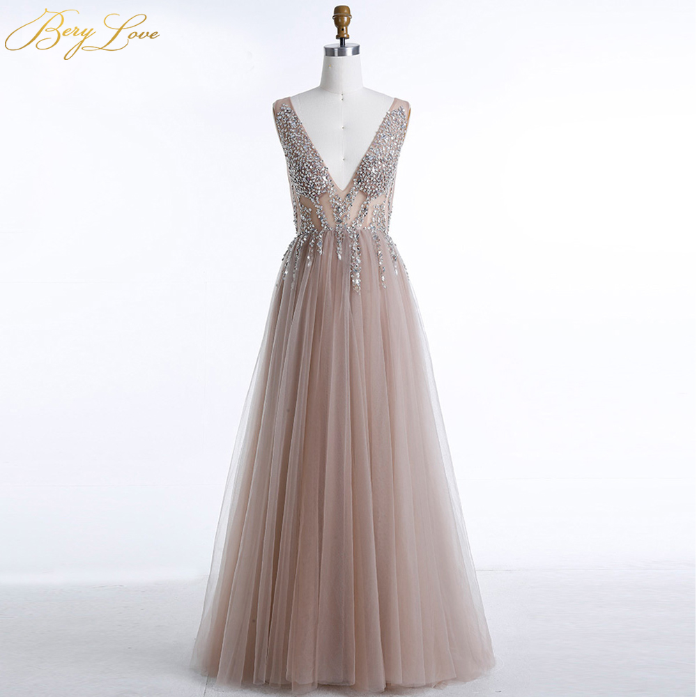 Sexy Champagne Evening Dress 2019 Beaded Sexy V Neck Open Backless Formal Dress Evening Gowns High