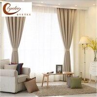{Byetee}現代の高品質寝室のカーテン用リビングルームフェイクリネン綿無地窓カーテンとチュールcortinas