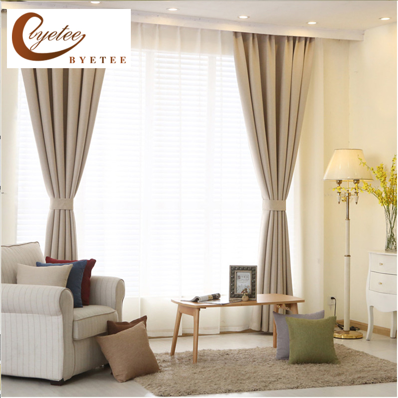 {Byetee} Modern High Quality Bedroom Curtain for Living Rooms Faux Linen Cotton Solid Color Window Curtains and Tulle Cortinas
