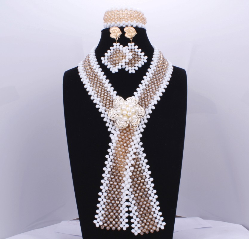 2017 X Design Imitation bijoux africains or et perles de cristal blanc indien ensemble de bijoux Sexy Lima pérou chine livraison gratuite