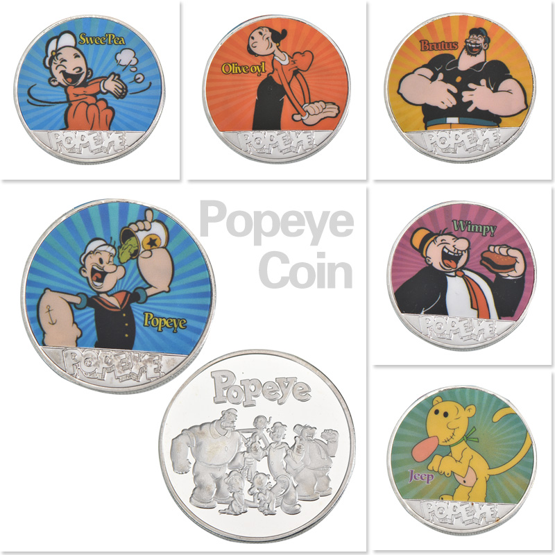 WR Silver Popeye Bronze Plated Commemorative Coin Birthday Gifts United States Navy Proud Metal Challenge Coin for Collection