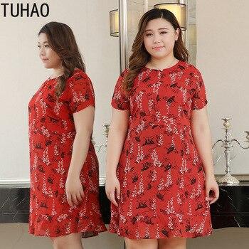 TUHAO vestido de verano para mujer Estilo bohemio Vestido de playa de gasa con estampado Floral de talla grande 10XL 9XL 8XL vestido de fiesta de oficina