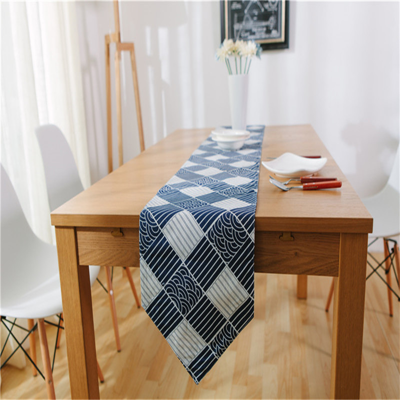 Superb Blue And White Wave Table Runner 30*200cm 30*220cm Grid Cotton Linen  Blending