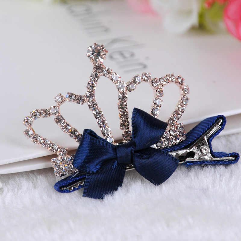 Girls Rabbit Ears Princess Hairpin Baby Hair Clip Rhinestone Crown Bowknot
