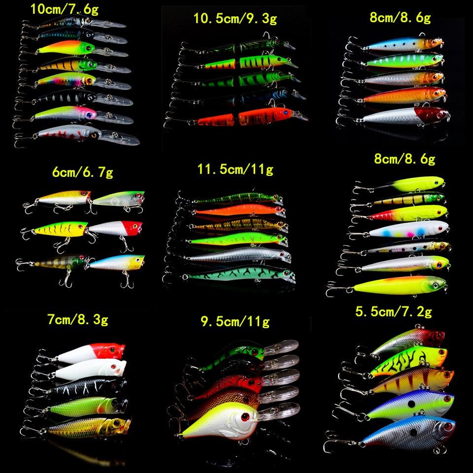 52 pcs lote iscas de pesca mista minnow crank popper vib lapis isca 52 cores pesca