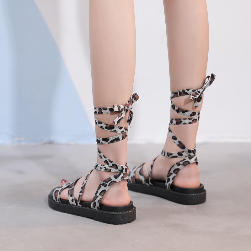 Shoes Woman Leopard Lace Up Flats Sandals Summer Peep Toe Gladiator Shoes Casual Plus Size Hollow Platform Slides Zapatos Mujer