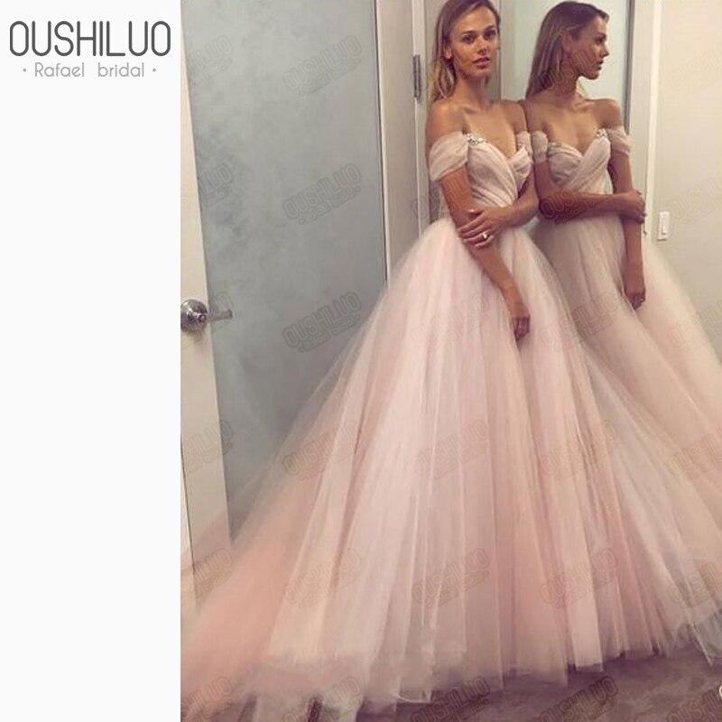 Charmante robe de soirée en mousseline de soie longue robe pour les femmes 2019 gonflé une ligne chérie cristal perles hors épaule fête robes de bal