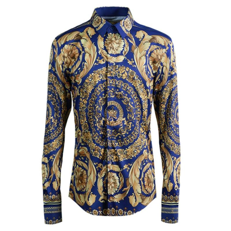 Original neue nationalen traditionellen muster männer shirt mode druck klassischen männer der hemd-in Legere Hemden aus Herrenbekleidung bei  Gruppe 1
