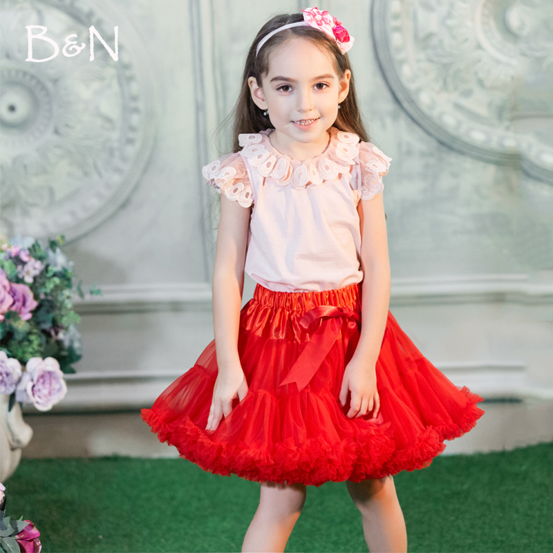 Buenos Ninos Girl Fluffy Double Layers Chiffon Pettiskirt Black Red Colors Women tutu skirts Girl And Lady Tulle Dance Skirt