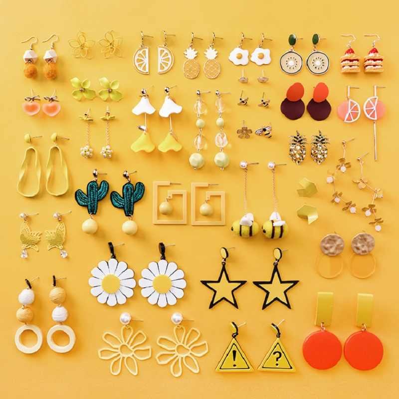 MINGQI Summer Korean Earrings Girl Cute Orange Coconut Tree Flower Fruit Star Earrings for Women Fashion Jewelry Accessories