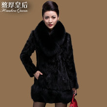 Plus size New Women's Mink fur coat,Elegant Slim Fox fur collar mink coat fur jacket natural fur coats Free shipping FQ074