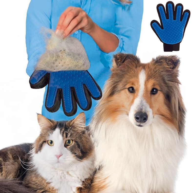 1Amazing-祛毛手套工具宠物美容换删除 - 猫 - 狗污垢,头发,皮屑,五个手指祛毛
