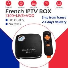 Лучший Android tv Box+ с системой Neo IPTV арабский Бельгия Франция IP tv 1300 Live Sports Фильмы+ VOD BT4.0 WiFI CSA96 4G/32G RK3399 телеприставка