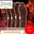 2 par/lote antibacteriana De Alta qualidade carbono Ativo Palmilhas linho remover os odores, Aumento de inverno palmilha quente grosso