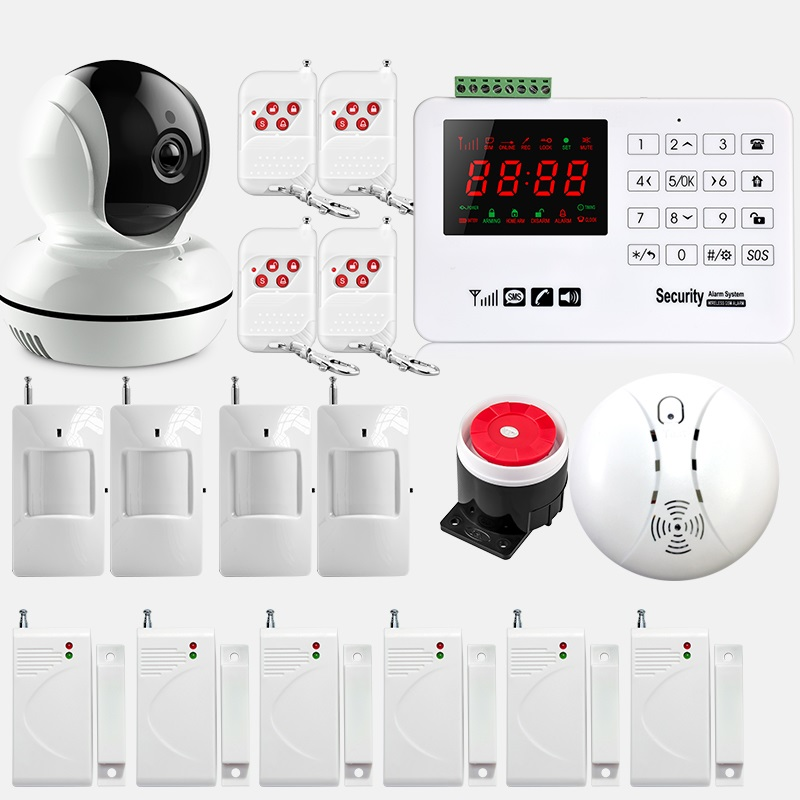Wireless GSM Alarm System 433MHz Home Burglar Security Alarm System Touch Keyboard Smoke detector WiFi IP Camera yongkang wireless 433mhz 1527 200k smoke detector for gsm alarm system