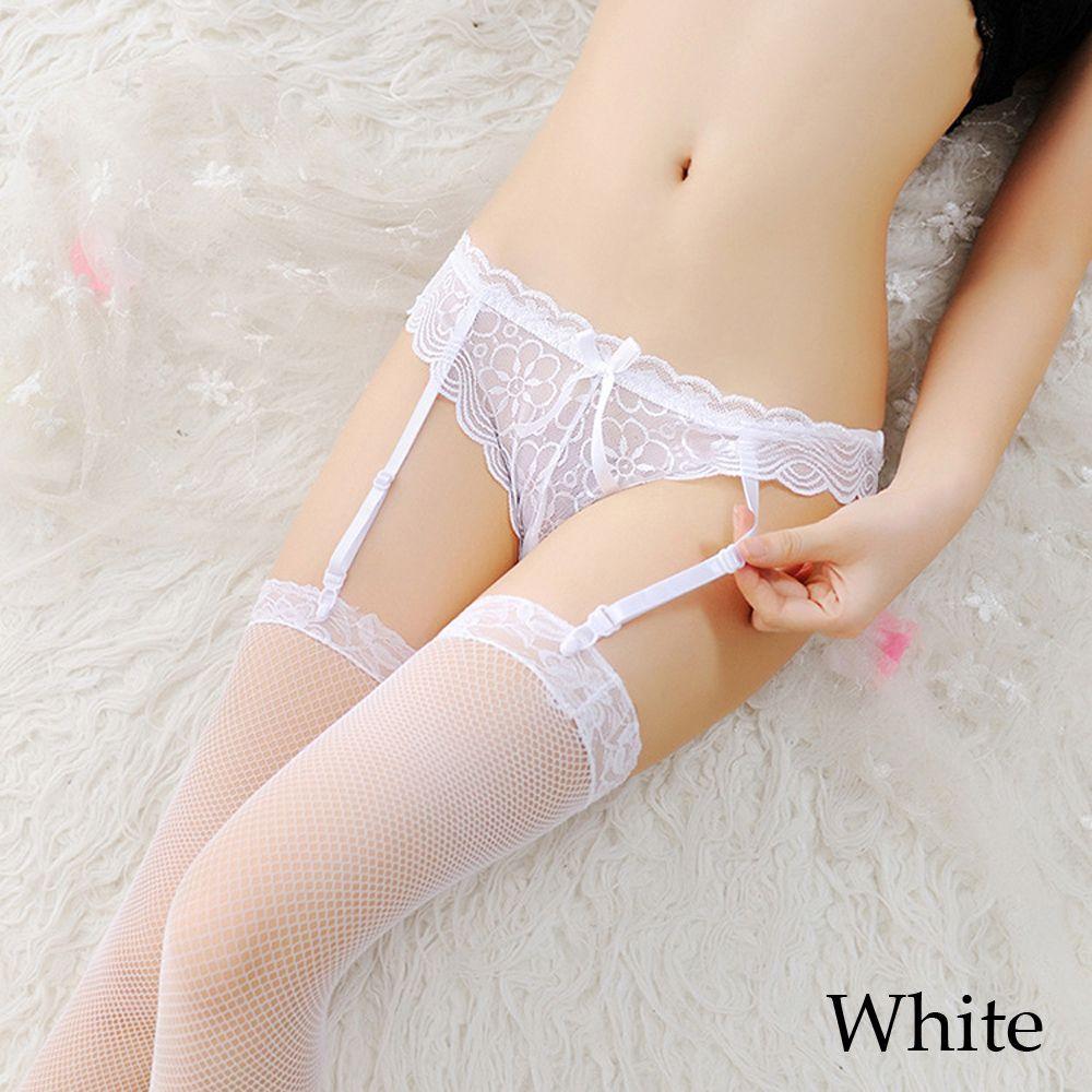 1 Pc Sexy Women Lady Sheer Lace Floral High Waist Stockings Garter Belt Suspender Underwear G-string Hot Sale