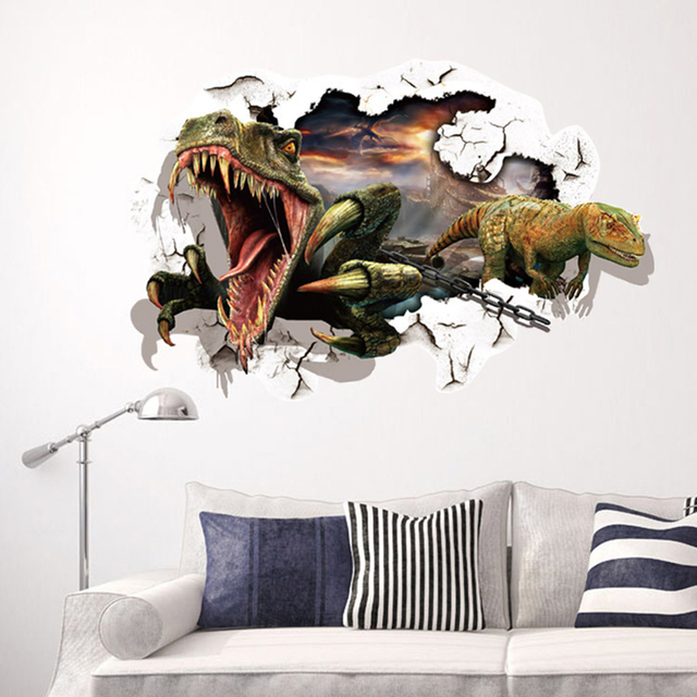 3D Dinosaur Wall Stickers For Kids Rooms Boy Room Decoration 3D Window  Effect Animal Wall Decals