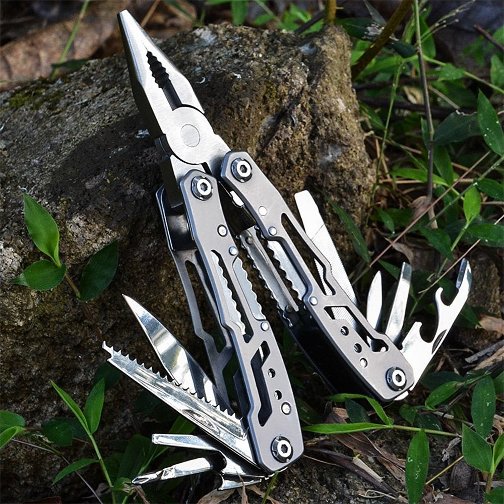 Mini Outdoor Multifunctional Tools Stainless Steel Folding Grip Pliers Saws Screwdrivers Wire Cutter Camping Survival Tool