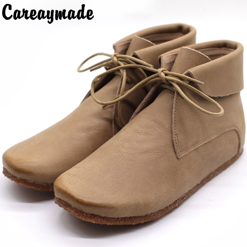 Careaymade-2017 new autumn and winter art RETRO lace ankle boots, handmade Genuine leather female shoes, flats round head boots 2014 new autumn and winter children s shoes ankle boots leather single boots bow princess boys and girls shoes y 451