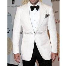 White Wedding Men Suits Groom Tuxedos Peaked Lapel Two Piece Man Suit Jacket Black Pants