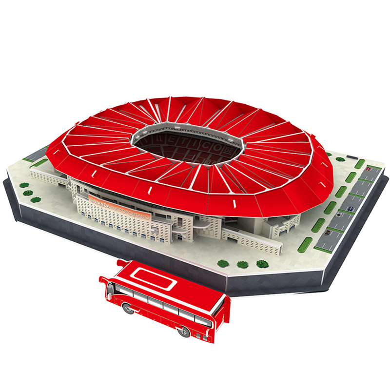Classic Jigsaw Puzzle Architecture Madrid Athletics Wanda-Metropolitano Football Stadiums Toys Scale Models Sets Building Paper