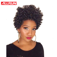 ALLRUN Brazilian Kinky Curly Short Human Hair Bob Wigs For Women Natural Black Color Non Remy