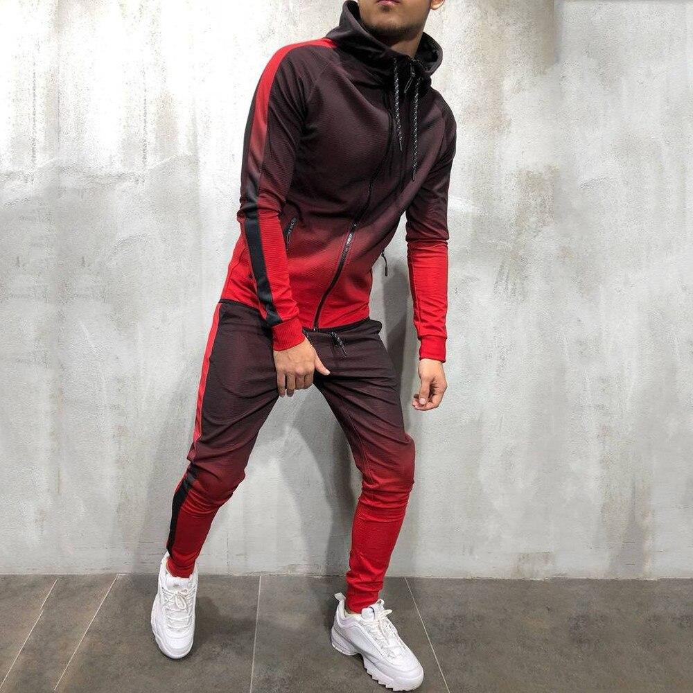Gradient Set Men Two Piece Outfits Zipper Track Jacket Sweatpants Mens Sports Suits Casual Pants Sweatshirt Sweatsuit Tracksuits