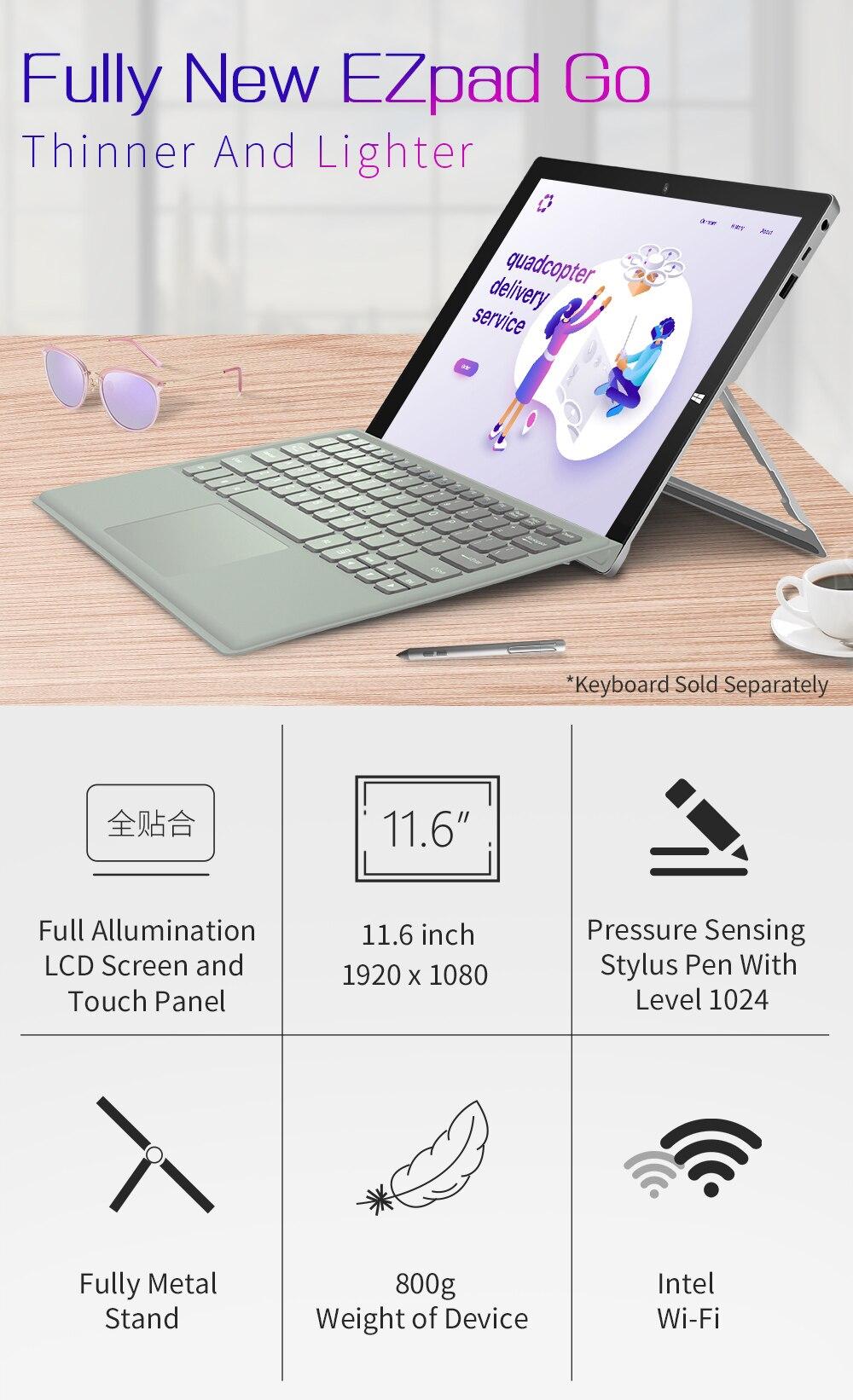 2 in 1 Tablet PC Jumper EZpad Go 11.6 inch IPS Display windows tablet (1)