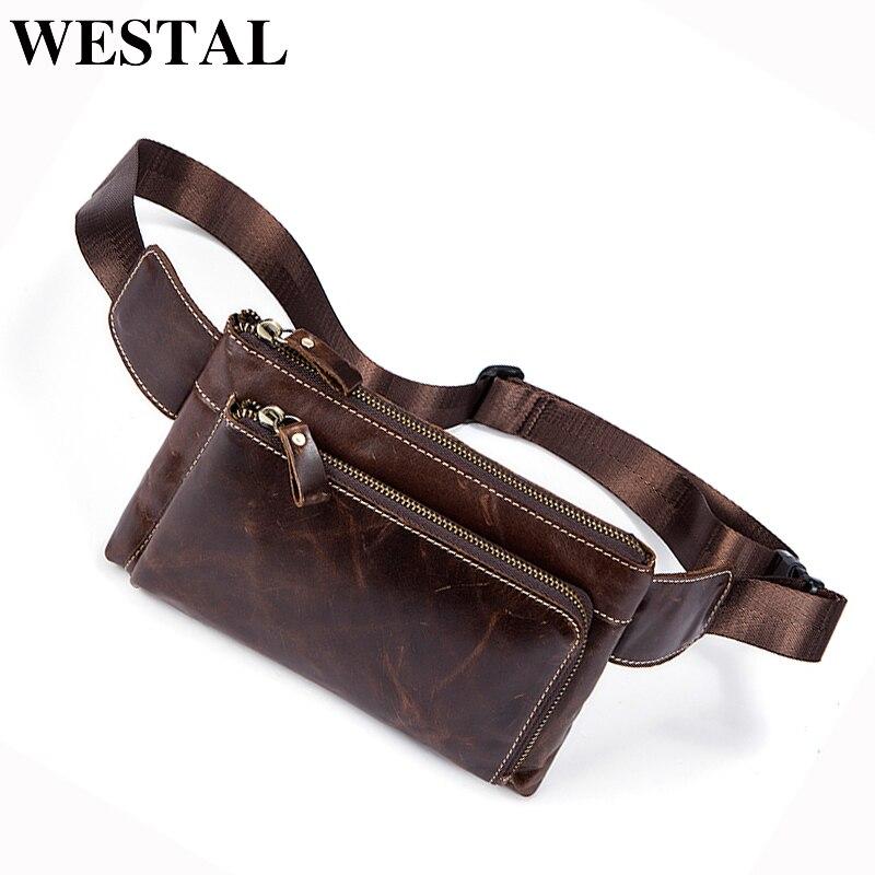 WESTAL Bag Men's Waist Pack Genuine Leather Bag Belt Men Fanny Packs Travel Casual Money Bags For Men Shoulder Bag Waist 8900