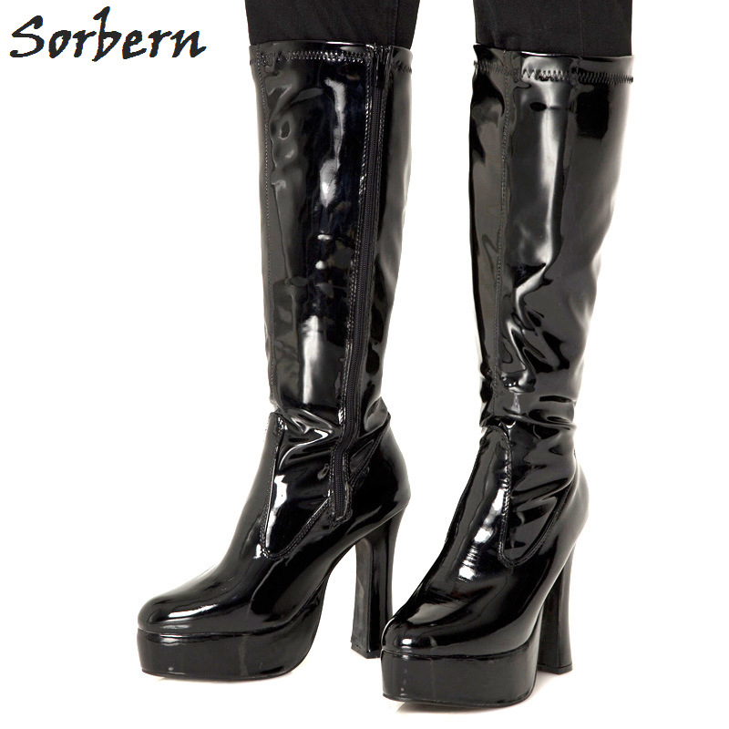 Sorbern Fashion Knee High Women Boots For Women Platform High Heels Square Heeled Ladies Shoes Size 43 Spring Style Women BootsSorbern Fashion Knee High Women Boots For Women Platform High Heels Square Heeled Ladies Shoes Size 43 Spring Style Women Boots