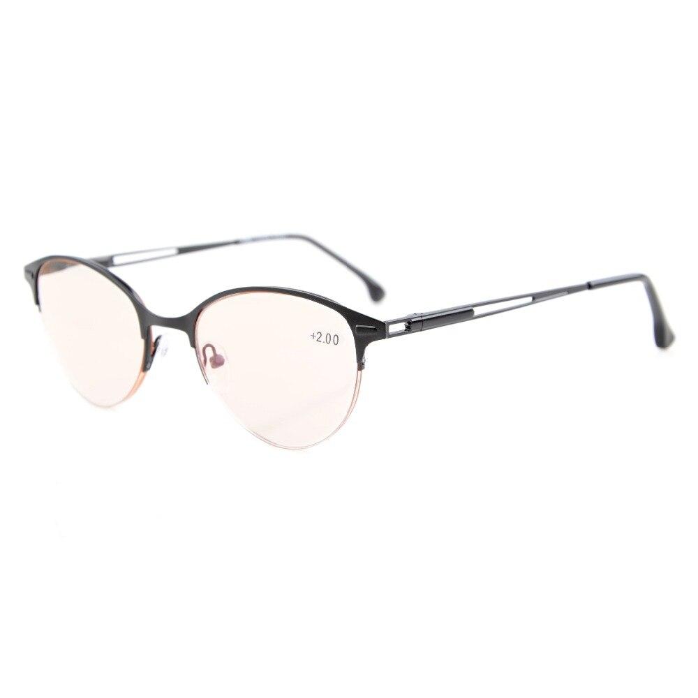 Eyekepper Cg1648 Kualitas Musim Semi Engsel Setengah Rim Gaya Cat Meja Makan Amber Eye Lensa Berwarna Komputer Kacamata Baca Wanita