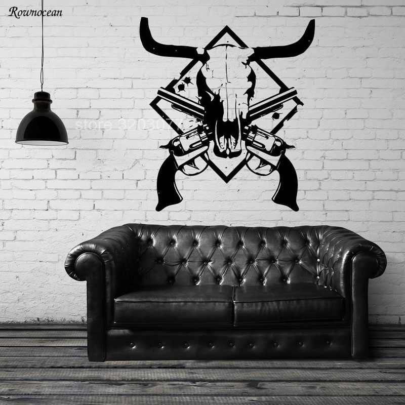 Cow Deer Skull Hunt Revolver Gun Weapons Father Vinyl Wall Decal Home Decor Living Room Sticker On The Wall Removable Mural GU28