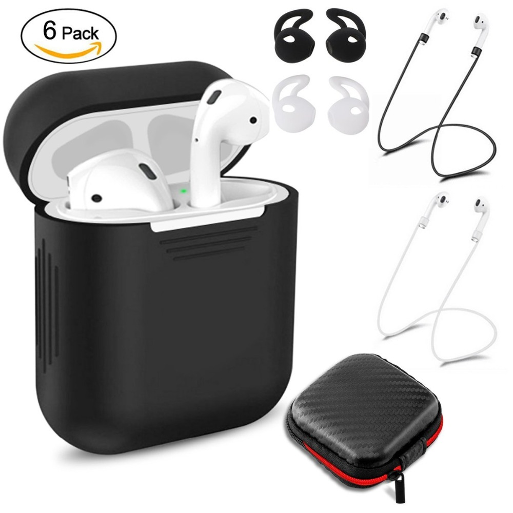 Paquete de 6 accesorios silicona cubierta protectora bolsa y Anti Correa perdida y cubierta del oído ganchos para Apple AirPods caso P35